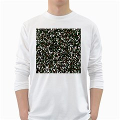 Camouflaged Seamless Pattern Abstract White Long Sleeve T Shirts