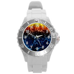 Abstract Background Round Plastic Sport Watch (l)