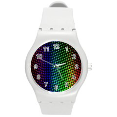Digitally Created Halftone Dots Abstract Background Design Round Plastic Sport Watch (m) by Nexatart