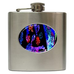 Grunge Abstract In Black Grunge Effect Layered Images Of Texture And Pattern In Pink Black Blue Red Hip Flask (6 Oz)