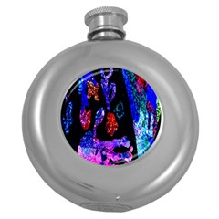 Grunge Abstract In Black Grunge Effect Layered Images Of Texture And Pattern In Pink Black Blue Red Round Hip Flask (5 Oz)