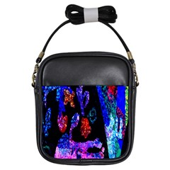 Grunge Abstract In Black Grunge Effect Layered Images Of Texture And Pattern In Pink Black Blue Red Girls Sling Bags by Nexatart