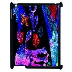 Grunge Abstract In Black Grunge Effect Layered Images Of Texture And Pattern In Pink Black Blue Red Apple Ipad 2 Case (black) by Nexatart