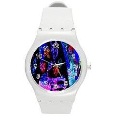 Grunge Abstract In Black Grunge Effect Layered Images Of Texture And Pattern In Pink Black Blue Red Round Plastic Sport Watch (m) by Nexatart