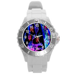 Grunge Abstract In Black Grunge Effect Layered Images Of Texture And Pattern In Pink Black Blue Red Round Plastic Sport Watch (l) by Nexatart