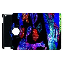 Grunge Abstract In Black Grunge Effect Layered Images Of Texture And Pattern In Pink Black Blue Red Apple Ipad 2 Flip 360 Case by Nexatart