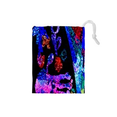 Grunge Abstract In Black Grunge Effect Layered Images Of Texture And Pattern In Pink Black Blue Red Drawstring Pouches (small)