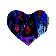 Grunge Abstract In Black Grunge Effect Layered Images Of Texture And Pattern In Pink Black Blue Red Standard 16  Premium Flano Heart Shape Cushions by Nexatart