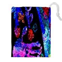 Grunge Abstract In Black Grunge Effect Layered Images Of Texture And Pattern In Pink Black Blue Red Drawstring Pouches (xxl) by Nexatart