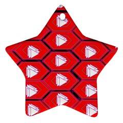 Red Bee Hive Background Star Ornament (two Sides)