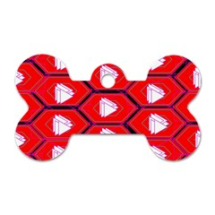 Red Bee Hive Background Dog Tag Bone (one Side)
