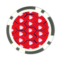 Red Bee Hive Background Poker Chip Card Guard by Nexatart