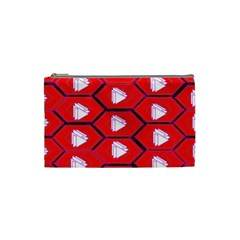 Red Bee Hive Background Cosmetic Bag (small)  by Nexatart