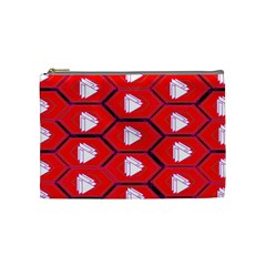 Red Bee Hive Background Cosmetic Bag (medium)  by Nexatart