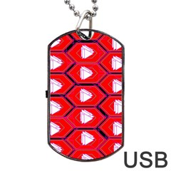 Red Bee Hive Background Dog Tag USB Flash (Two Sides)