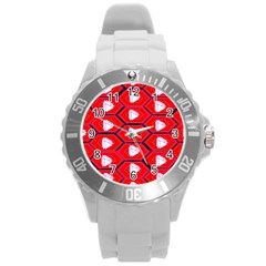 Red Bee Hive Background Round Plastic Sport Watch (l) by Nexatart