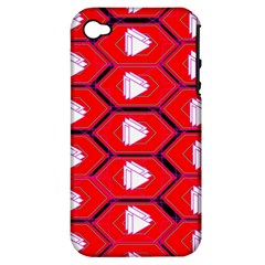 Red Bee Hive Background Apple Iphone 4/4s Hardshell Case (pc+silicone) by Nexatart