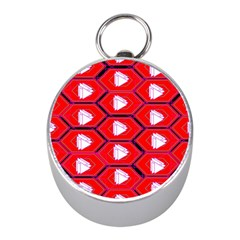 Red Bee Hive Background Mini Silver Compasses by Nexatart