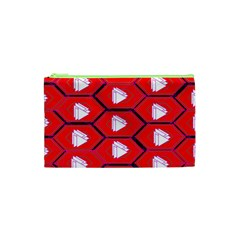 Red Bee Hive Background Cosmetic Bag (xs) by Nexatart