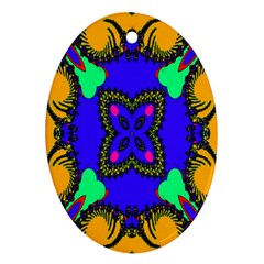 Digital Kaleidoscope Oval Ornament (two Sides) by Nexatart
