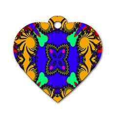 Digital Kaleidoscope Dog Tag Heart (two Sides)