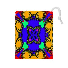Digital Kaleidoscope Drawstring Pouches (large)