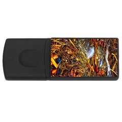 Abstract In Orange Sealife Background Abstract Of Ocean Beach Seaweed And Sand With A White Feather USB Flash Drive Rectangular (2 GB) by Nexatart