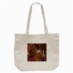 Abstract In Orange Sealife Background Abstract Of Ocean Beach Seaweed And Sand With A White Feather Tote Bag (cream) by Nexatart
