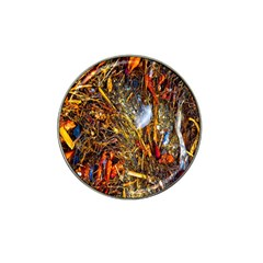 Abstract In Orange Sealife Background Abstract Of Ocean Beach Seaweed And Sand With A White Feather Hat Clip Ball Marker by Nexatart
