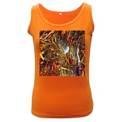 Abstract In Orange Sealife Background Abstract Of Ocean Beach Seaweed And Sand With A White Feather Women s Dark Tank Top