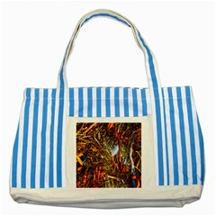 Abstract In Orange Sealife Background Abstract Of Ocean Beach Seaweed And Sand With A White Feather Striped Blue Tote Bag by Nexatart