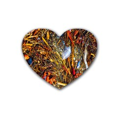 Abstract In Orange Sealife Background Abstract Of Ocean Beach Seaweed And Sand With A White Feather Rubber Coaster (heart)  by Nexatart