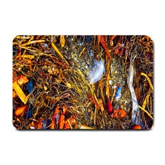 Abstract In Orange Sealife Background Abstract Of Ocean Beach Seaweed And Sand With A White Feather Small Doormat  by Nexatart