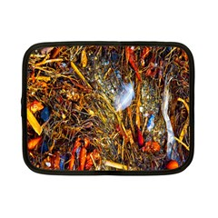 Abstract In Orange Sealife Background Abstract Of Ocean Beach Seaweed And Sand With A White Feather Netbook Case (small)  by Nexatart