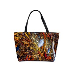 Abstract In Orange Sealife Background Abstract Of Ocean Beach Seaweed And Sand With A White Feather Shoulder Handbags by Nexatart