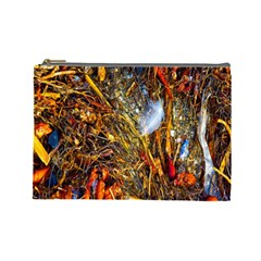 Abstract In Orange Sealife Background Abstract Of Ocean Beach Seaweed And Sand With A White Feather Cosmetic Bag (large)  by Nexatart