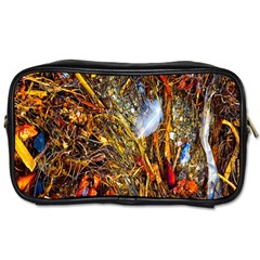 Abstract In Orange Sealife Background Abstract Of Ocean Beach Seaweed And Sand With A White Feather Toiletries Bags by Nexatart