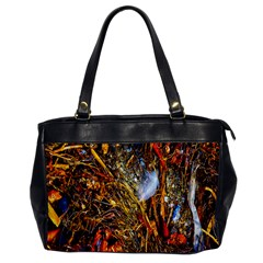 Abstract In Orange Sealife Background Abstract Of Ocean Beach Seaweed And Sand With A White Feather Office Handbags by Nexatart