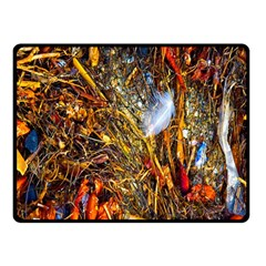 Abstract In Orange Sealife Background Abstract Of Ocean Beach Seaweed And Sand With A White Feather Fleece Blanket (small) by Nexatart