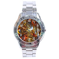 Abstract In Orange Sealife Background Abstract Of Ocean Beach Seaweed And Sand With A White Feather Stainless Steel Analogue Watch by Nexatart
