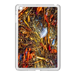 Abstract In Orange Sealife Background Abstract Of Ocean Beach Seaweed And Sand With A White Feather Apple Ipad Mini Case (white) by Nexatart