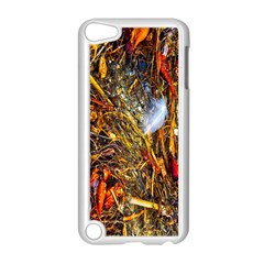 Abstract In Orange Sealife Background Abstract Of Ocean Beach Seaweed And Sand With A White Feather Apple Ipod Touch 5 Case (white)