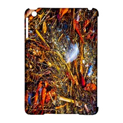 Abstract In Orange Sealife Background Abstract Of Ocean Beach Seaweed And Sand With A White Feather Apple Ipad Mini Hardshell Case (compatible With Smart Cover)