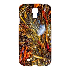 Abstract In Orange Sealife Background Abstract Of Ocean Beach Seaweed And Sand With A White Feather Samsung Galaxy S4 I9500/i9505 Hardshell Case by Nexatart
