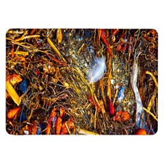 Abstract In Orange Sealife Background Abstract Of Ocean Beach Seaweed And Sand With A White Feather Samsung Galaxy Tab 8 9  P7300 Flip Case by Nexatart