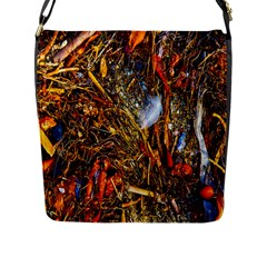 Abstract In Orange Sealife Background Abstract Of Ocean Beach Seaweed And Sand With A White Feather Flap Messenger Bag (l)  by Nexatart