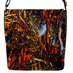 Abstract In Orange Sealife Background Abstract Of Ocean Beach Seaweed And Sand With A White Feather Flap Messenger Bag (s) by Nexatart