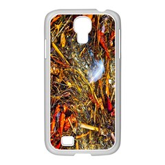 Abstract In Orange Sealife Background Abstract Of Ocean Beach Seaweed And Sand With A White Feather Samsung Galaxy S4 I9500/ I9505 Case (white) by Nexatart