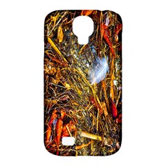 Abstract In Orange Sealife Background Abstract Of Ocean Beach Seaweed And Sand With A White Feather Samsung Galaxy S4 Classic Hardshell Case (pc+silicone) by Nexatart
