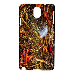 Abstract In Orange Sealife Background Abstract Of Ocean Beach Seaweed And Sand With A White Feather Samsung Galaxy Note 3 N9005 Hardshell Case by Nexatart